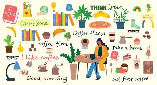 Ilustraciones de juego de café. la gente pasa su tiempo en la cafetería, bebiendo capuchino.