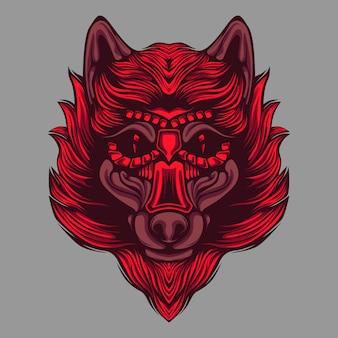 Ilustraciones de lobo de pelo rojo