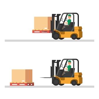 Ilustraciones logísticas. carga de camiones, carretillas elevadoras y trabajadores.