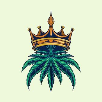 Ilustraciones del logotipo de la corona de cannabis