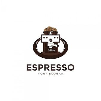 Ilustraciones de logotipo de máquina de café espresso