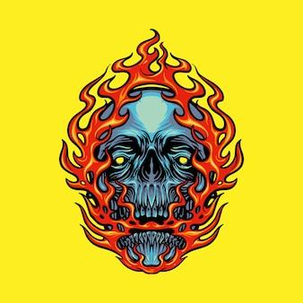 Ilustraciones de la mascota de la cabeza del cráneo del fuego