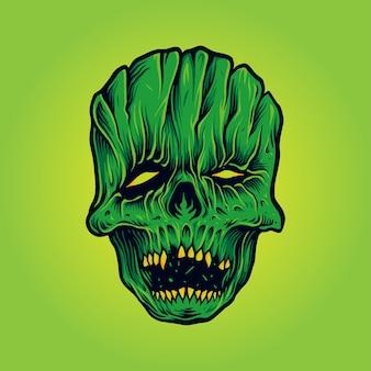 Ilustraciones de la mascota de la máscara facial del cráneo del horror