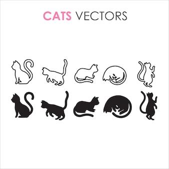 Ilustraciones minimalistas de silueta y contorno negro de gato.