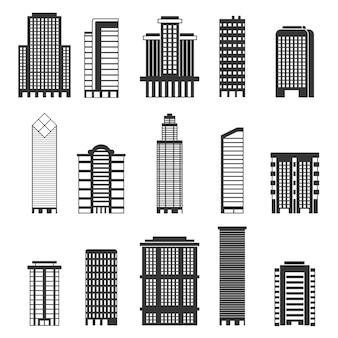 Ilustraciones monocromas de edificios urbanos. oficinas comerciales en rascacielos.