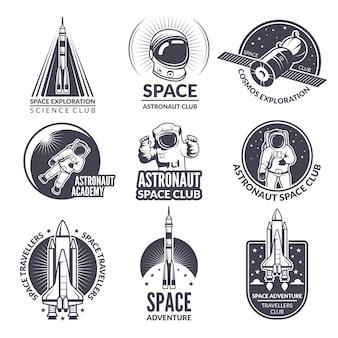 Ilustraciones monocromáticas de transbordadores espaciales y astronautas para etiquetas e insignias.
