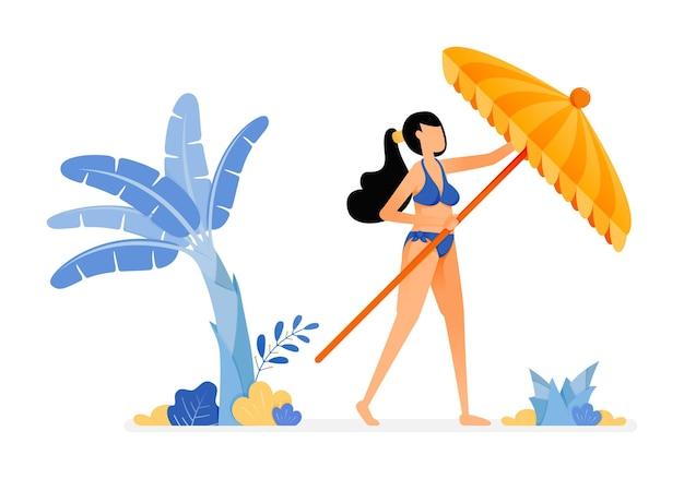 Ilustraciones de mujer intenta abrir una sombrilla de playa y relajarse bajo un árbol de plátano