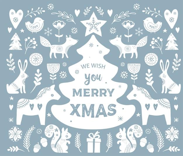Ilustraciones navideñas, banner elementos dibujados a mano e iconos en estilo escandinavo
