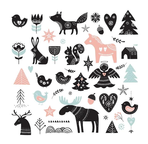 Ilustraciones navideñas, diseño de banners, elementos e iconos dibujados a mano en estilo escandinavo