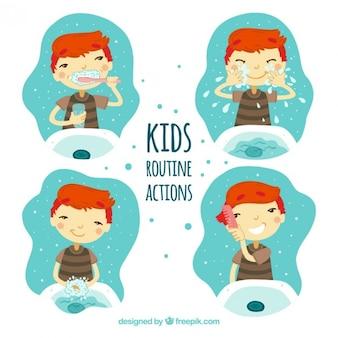 Ilustraciones de niños haciendo acciones rutinarias