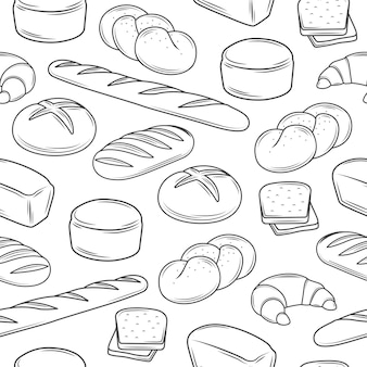 Ilustraciones de pan de patrones sin fisuras