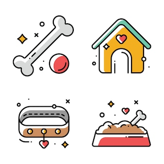 Ilustraciones de perrera, collar, comida seca en un tazón y juguetes