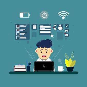 Ilustraciones de personaje trabajando