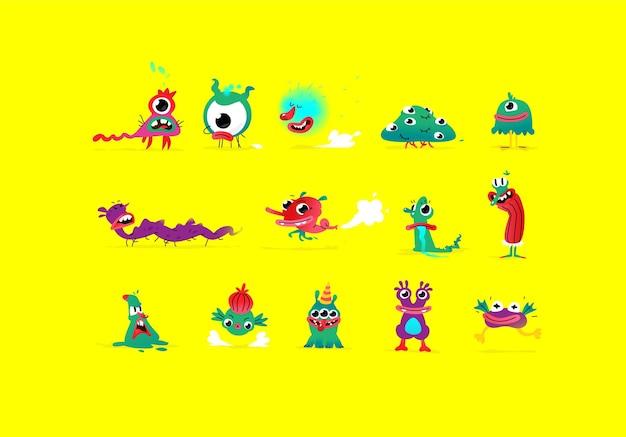 Ilustraciones de personajes de monstruos lindos y bonitos.