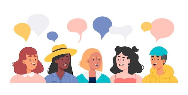 Ilustraciones de personas hablando a mano