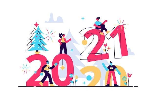 Ilustraciones, personas pequeñas se preparan para el año nuevo se dedican a la decoración, reemplaza la inscripción año nuevo