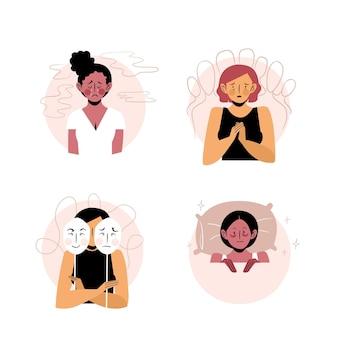 Ilustraciones de personas con problemas de salud mental.
