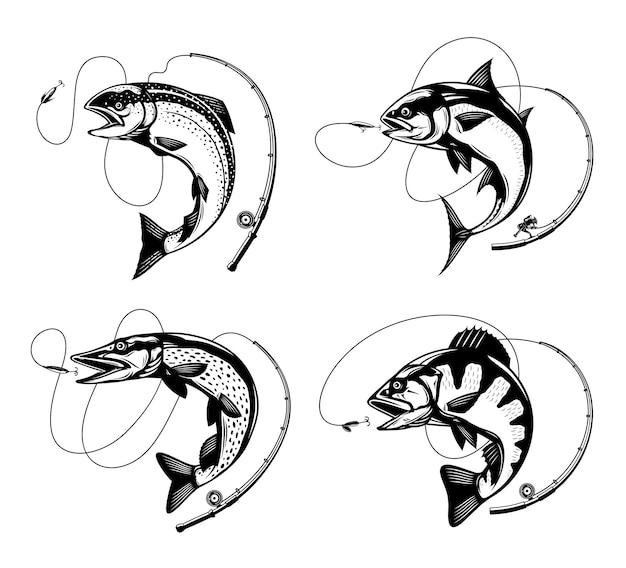 Ilustraciones de pesca con sedal y anzuelo de caña de pescar saltando peces