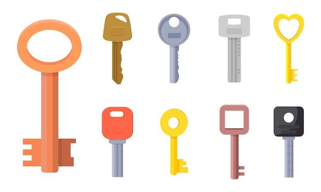 Ilustraciones planas de diferentes tipos de colección de llaves para puerta de casa.