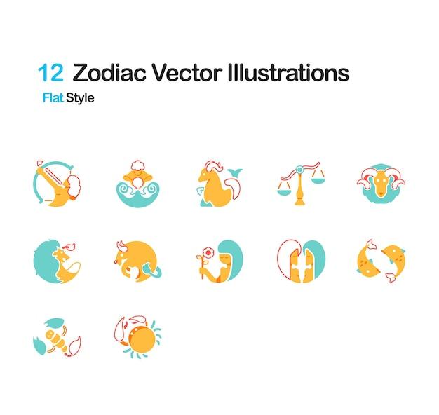 Ilustraciones planas del zodiaco