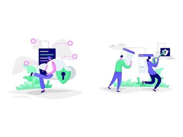 Ilustraciones de plataforma de seguridad de red