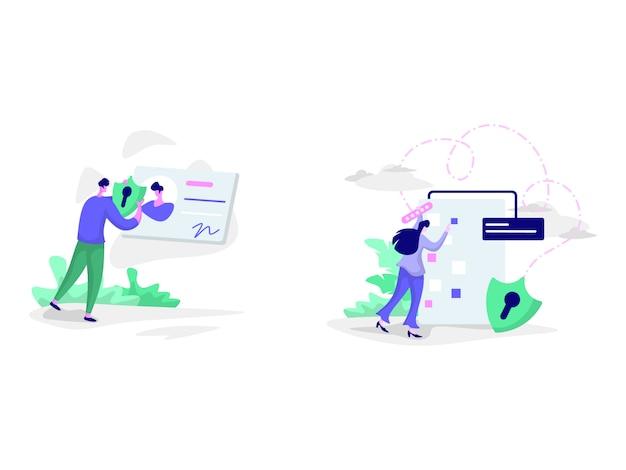 Ilustraciones de protección de datos y protección de datos personales