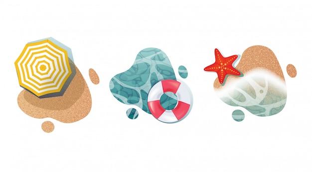 Ilustraciones realistas de verano en formas líquidas.