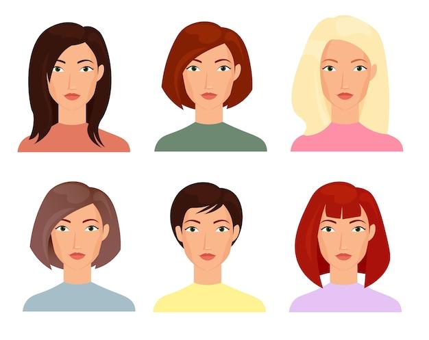 Las ilustraciones de rostros femeninos establecen personajes de cortes de pelo de moda cortos y largos de mujeres rubias brunet