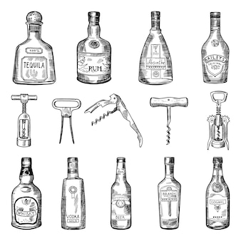 Ilustraciones de sacacorchos y diferentes botellas de vino.