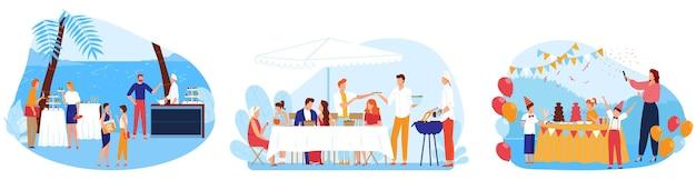 Ilustraciones de servicio de catering buffet.