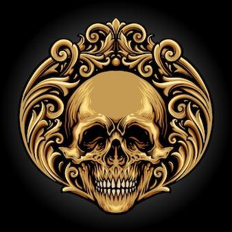 Ilustraciones de skull vintage ornaments