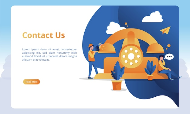Ilustraciones telefónicas y llamadas para contactarnos página para plantillas de página de destino