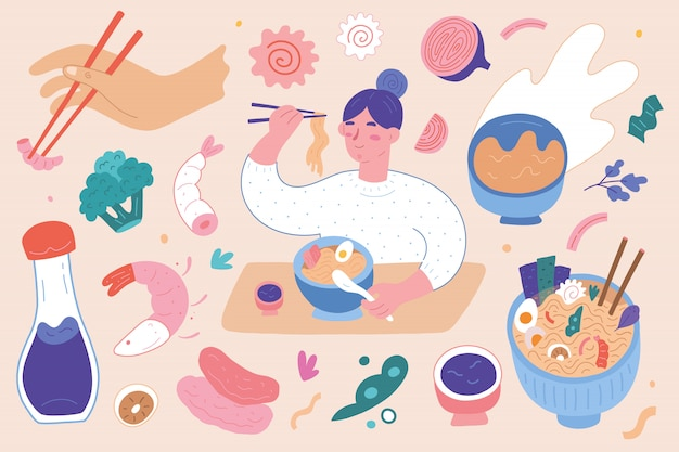 Ilustraciones de la tienda de ramen, ingrediente de sopa de fideos