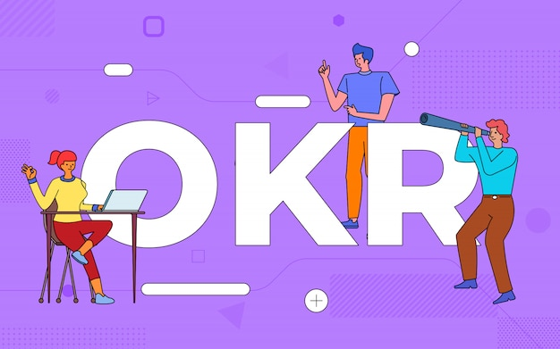 Las ilustraciones del trabajo en equipo empresarial crean un resultado clave del objetivo empresarial trabajando juntos. construir el concepto de texto okr. ilustrar.