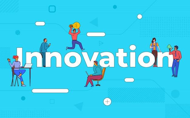 Las ilustraciones de trabajo en equipo de negocios crean negocios innovadores trabajando juntos. construir innovación en concepto de texto. ilustrar.