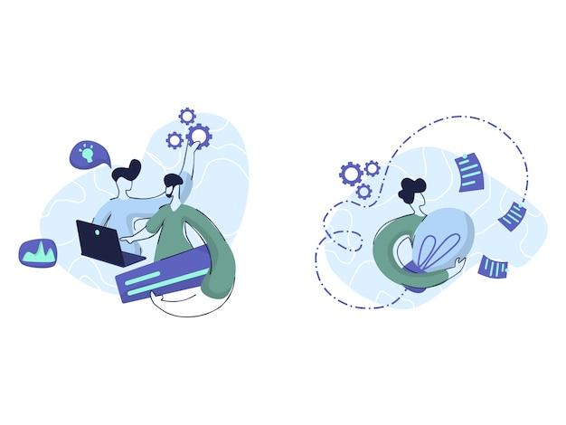 Ilustraciones de trabajo en equipo y solución creativa