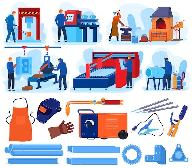 Ilustraciones de trabajo de metal de soldadura, conjunto de dibujos animados con equipo de herramienta de metalurgia de herrero, forjado de gente de trabajador soldador, trabajando