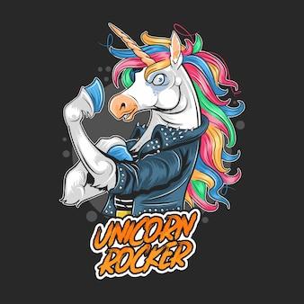 Ilustraciones de unicorn rocker jacket rider