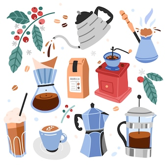 Ilustraciones de utensilios y herramientas para preparar café