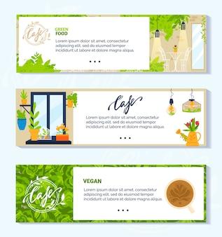 Ilustraciones de vectores de café verde vegetariano vegano. colección de pancartas planas de dibujos animados con interiores modernos y muebles de cafetería o restaurante vegetariano