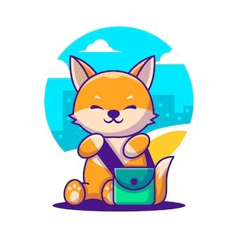 Ilustraciones de vectores de dibujos animados lindo fox con bolsa. concepto de icono de regreso a la escuela
