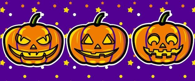 Ilustraciones de vectores de expresiones de calabazas de halloween