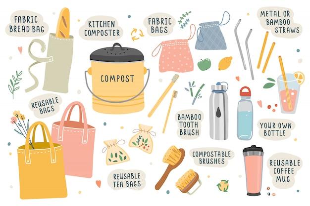 Ilustraciones de vectores de herramientas y cosas para la basura ecológica cero