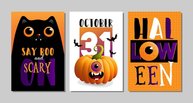Ilustraciones de vectores de tarjetas de halloween con letras y flyer de papel tapiz de banner de venta de gato negro