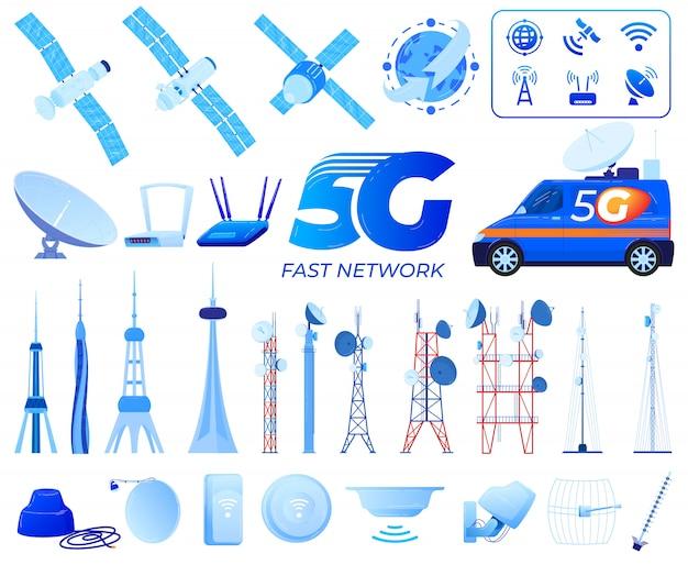Ilustraciones de vectores de tecnología de comunicación 5g.