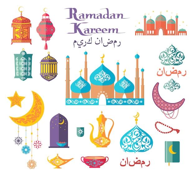 Ilustraciones de vectores temáticas de ramadan kareem. motivos étnicos, árabes y edificios auténticos.
