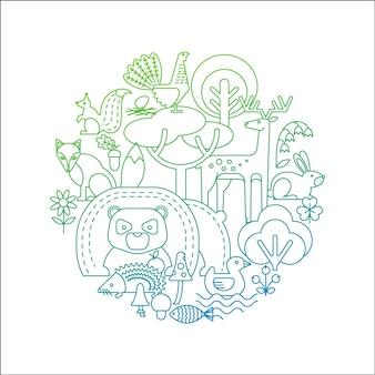 Ilustraciones vectoriales de animales del bosque.