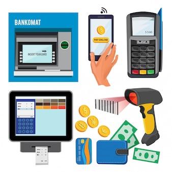 Ilustraciones vectoriales de bankomat y terminal para pagos con tarjetas de crédito.