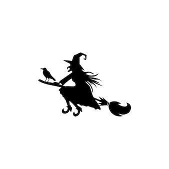 Ilustraciones vectoriales de bruja de silueta de halloween con sombrero en mosca de escoba
