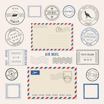 Ilustraciones vectoriales de cartas y matasellos, diseños de correo aéreo.